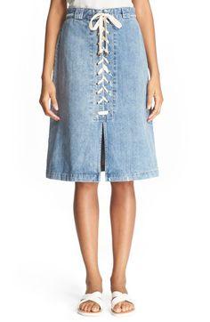 Sea Lace-Up Denim Skirt