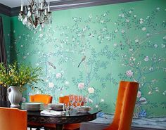 Chnoiserie wallpaper ebay from Yrmural Studio,Good price with same high quality as deGournay and Fromental at http://www.yrmural.com