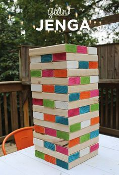Giant Jenga.Play with your family at weekends or holidays,and you will have a unforgettable memory.The colors we add give the whole thing some sparkle and personality. http://hative.com/game-ideas-for-your-family/