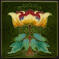 TH2580 Fabulous Bold and Brilliant Art Nouveau Majolica Tile Rhodes Rd 1908