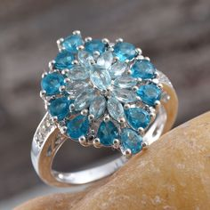 Madagascar Paraiba Apatite, Malgache Neon Apatite, and White Topaz Ring in Platinum Overlay Sterling Silver (Nickel Free)