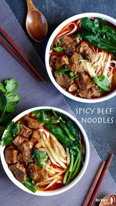 Spicy beef noodle soup (香辣牛肉面) A bowl of noodles in well spiced broth topped with tender beef cubes, spicy beef noodle soup is hot, fragrant and very comforting indeed. Asian Recipes, Beef Recipes, Soup Recipes, Cooking Recipes, Healthy Recipes, Ethnic Recipes, Indonesian Recipes, Asian Desserts, Recipes With Beef Cubes