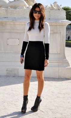 cool black and white dress