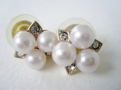 Vintage Hollywood Regency Modern Pearl and Rhinestone Earrings by ThePaisleyUnicorn, $4.00