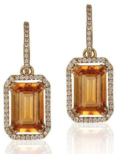 Goshwara Collection - Goshwara Citrine and Diamond Set Earrings, Gossip Collection - Citrine 12 X 8 MM Emerald Cut, 7.40 cts Approximately total - Diamonds Hoop in 18K Yellow Gold - Diamond Approximat