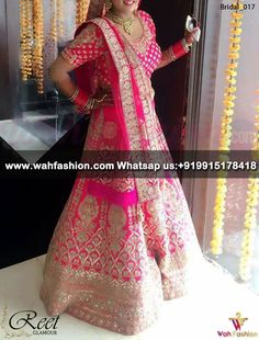 Ravishing Pink Embroidered Bridal Lehenga Product Code : Bridal_019 Direct Link:https://goo.gl/l28Cnj For more details whatsapp us: +919915178418 We can design this suit in any color combination or on any fabric (price may vary accoroding to fabric)
