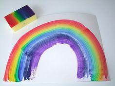 Paint a rainbow in one swipe!  Paint sponge with rainbow stripes and use sponge to create rainbows!