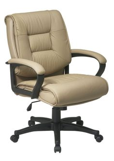 Office Star Work Smart Deluxe Mid Back Executive Tan Glove Soft Leather Chair with Padded Loop Arms Business Furniture, Office Furniture, Smart Furniture, Furniture Ideas, Furniture Design, Drafting Chair, Office Star, Executive Office Chairs, Conference Chairs