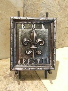 French Fleur de Lis Kitchen Plaque Bon Appitit Aged Pewter | eBay