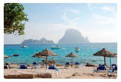 Cala d' Hort beach with Es Vedra on the background/ #EsVedra #Ibiza