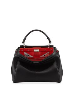Peekaboo+Mini+Monster+Eyes+Satchel+Bag,+Black+by+Fendi+at+Neiman+Marcus.
