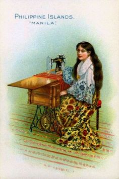 Singer Sewing Machine trade card -- Philippine Islands -- c. 1900 by bjebie, via… Treadle Sewing Machines, Antique Sewing Machines, Vintage Cards, Vintage Postcards, Card Costume, Philippine Art, Sewing Cards, Love Sewing, Vintage Advertisements
