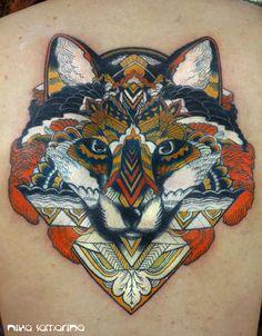 Fox tattoo by Nika Samarina
