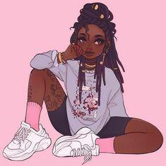 Black Love Art, Black Girl Art, Art Girl, Cartoon Kunst, Cartoon Drawings, Cute Drawings, Black Cartoon Characters, Black Girl Cartoon, Black Art Painting