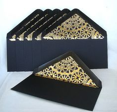 Gold Metallic Doily Lace Envelopes Lined Envelope Liners Wedding Invitation Vintage Modern Black Any Color Custom dl Envelopes Any Size