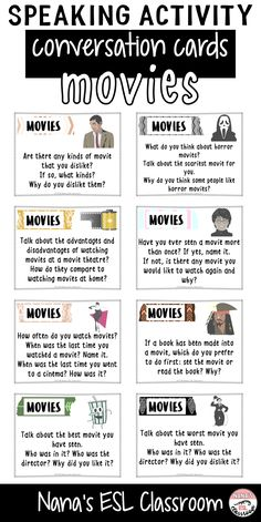 This resource includes 40 different conversation cards about movies. Ideal for teen ESL students to practice speaking or can be used as class openers or finishers and even as writing prompts. high school ESL Speaking Activity about Movies English Speaking Skills, English Language Learners, English Lessons, English Vocabulary, Teaching English, Learn English, Ap English, English Teachers, English Reading