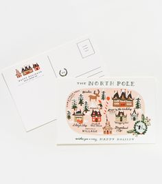 North Pole Map Postcards from Rifle Paper Co - framing for seasonal art