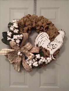 Burlap cotton rooster wreath