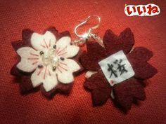 Sakura earrings embroidered