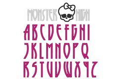 Monster High Font, abc, monogram, alphabet, machine embroidery design, file - caps, letters and numbers in 1,5 inches and 2,5. $3.99, via Etsy.