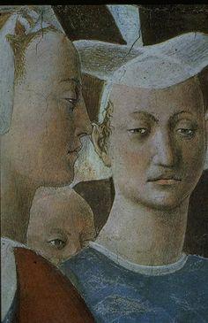 Piero della Francesca,  1420 - 1492. Adoration du bois et Visite de la Reine de Saba au roi Salomon. Detail de la fresque.