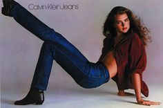 1980s: a leggy Brooke Shields poses for Richard Avedon in this Calvin Klein Jeans campaign. #TurnofStyle