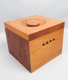 Amazing-Vintage-Mid-Century-Modern-Giant-Teak-Wood-Ice-Chest-Bucket