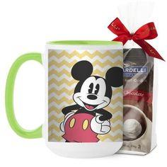 Disney Vintage Mickey Mug, Green, with Ghirardelli Premium Hot Cocoa, 15 oz, Yellow