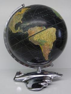 Airplane Base Globe Maker: Weber Costello Co. 12 peerless Weber Costello Co. Chicago Heights, Globe Art, Vintage Globe, World Globes, Illinois, Airplane, Maps, Around The Worlds, Cool Stuff