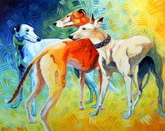 """""""Trish's Three"""" by Xan Blackburn. Acrylic on gessoed panel.  greyhound portrait, greyhound, dog, dog portrait"""