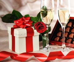 For You - Rose, Red, Lovely, Champagne Glass, Ribbon, Romantic, Beautiful, Flower, Champagne, Tape