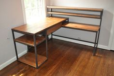 L shaped desk with drawer and open shelving. Steel and stained Radiata pine. Conceived by Leslie Huntley of Roost Interior Designs Asheville NC