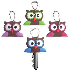 4pc Gift Set - Funco Owl Key Covers / Key Caps / Key Chain - (We offer one low flat rate 3.50 shipping! Order any quantity or styles of tenna tops and save) Funco Tops http://www.amazon.com/dp/B00JXWANSA/ref=cm_sw_r_pi_dp_8k3wwb1Y1VNHC