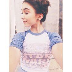 Rowan wearing a star wars shirt