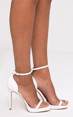 Enna White Single Strap Heeled Sandals Nude High Heels 12a4299a0a3c