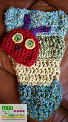 The Very Hungry Caterpillar Crochet Newborn Cocoon and Hat. #FoodandHappiness