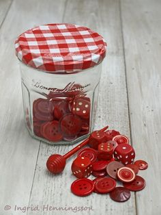 Red vintage buttons stored in a cheerful french jam jar. My Favorite Color, My Favorite Things, Pots, Red Cottage, Jam Jar, Red Kitchen, Red Gingham, Shades Of Red, Vintage Buttons