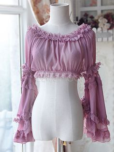 Sweet Chiffon Purple Light Purple Lolita Short Blouse Long Hime Sleeves Detachable Sleeves Pink 2 Colors