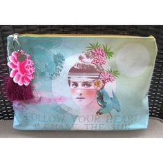 Sun Chaser Follow Your Heart & Chase The Sun Large Accessory Bag Pouch Clutch Vegan Friendly Papaya Art