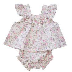 cream pink floral baby set