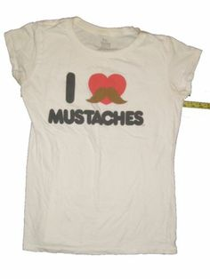 I Love Mustaches T-Shirt 2XL Made in Mexico of USA Fabric 100% Cotton