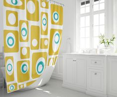 Items similar to Print Shower Curtain Retro Shower Curtain Mid Century Modern Shower Curtain on Etsy Curtains Uk, Cool Curtains, Curtains With Rings, Retro Shower Curtain, Modern Shower Curtains, Modern Prints, Modern Wall, Mid-century Modern, Printed Coffee Cups