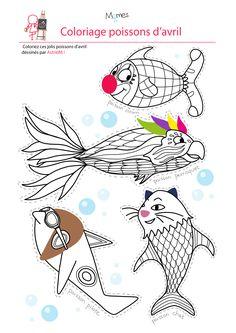 Coloriage 4 poissons d'avril