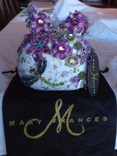 MARY FRANCES LAVENDER & GREEN DRAGONFLY HANDBAG W BEADS FLOWERS EVENING NWT MINT #MaryFrances #EveningBag