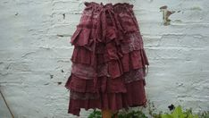 Layered Ruffles Skirt Woman's Clothing Burgundy Burlesque Red Tribal Cotton Lace Layers Pixie Gown Mori Girl