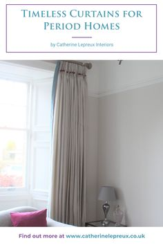 Ideas and inspiration for curtains and blinds to dress windows in older period homes. #curtains #blinds #windowtreatments #periodhomes