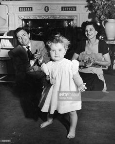 James Mason with wife Pamela, and daughter Portland, 7th June 1950.....Uploaded By www.1stand2ndtimearound.etsy.com