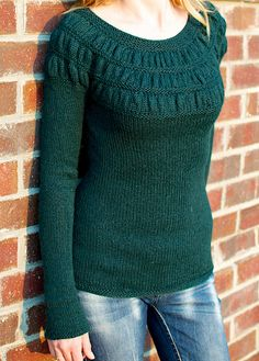 Ravelry: Project Gallery for 119-2 Jumper with shirred pattern on yoke pattern by DROPS design - free pattern...briblume