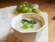 Cucumber gazpacho ajo blanco with green grapes