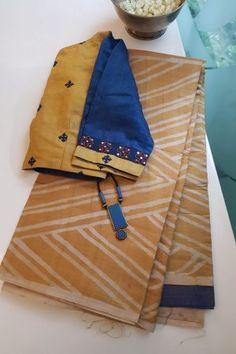Yellow grey batik tussar saree - Yellow and grey tussar saree with batik done on it. The saree has a plain blouse piece. Cotton Saree Designs, Pattu Saree Blouse Designs, Blouse Designs Silk, Saree Blouse Patterns, Cotton Sarees Handloom, Cotton Saree Blouse, Cotton Blouses, Blouse Dress, Stylish Sarees